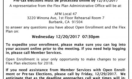 Flex Plan meeting at Local 47 Wednesday 12/20/2017 07:30 pm – Open Enrollment is now!